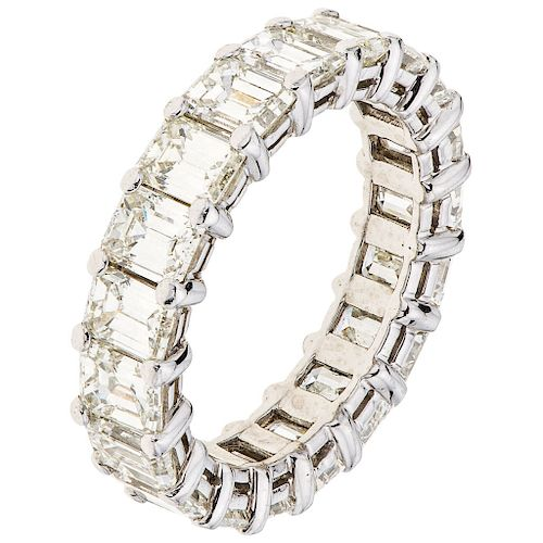 A diamond platinum eternity ring.