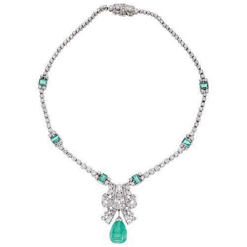 An emerald and diamond palladium silver choker.