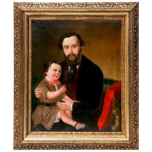 A 19th century oil on canvas portrait of a father and child.