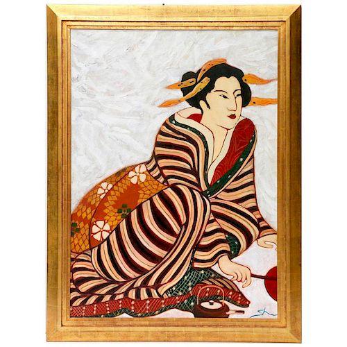 A painting of a Geisha.