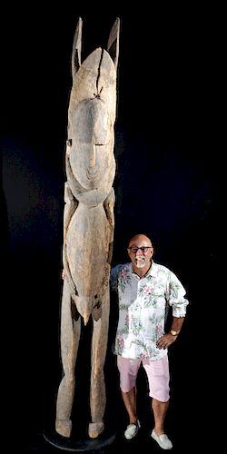 Massive 20th C. Papua New Guinea Abelam Wood Male Totem