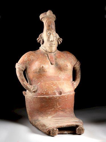 Large Jalisco Pottery Seated Female Figure