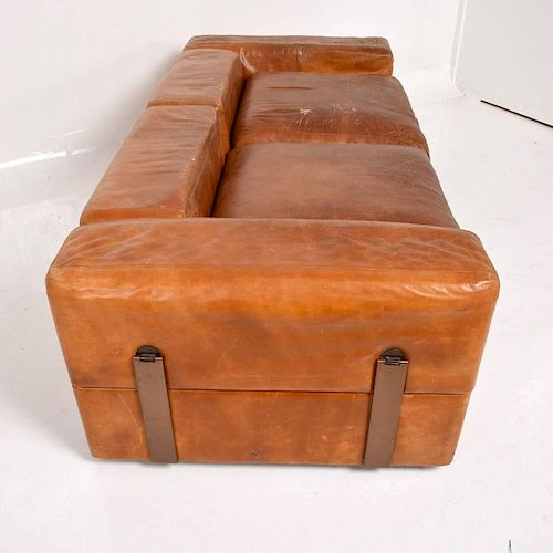 Mid-Century Modern Italian Leather Sofa Bed by Tito Agnolli ...