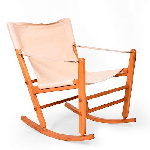 Prime Mid Century Modern Safari Chair Rocker Solid Maple Canvas Alphanode Cool Chair Designs And Ideas Alphanodeonline
