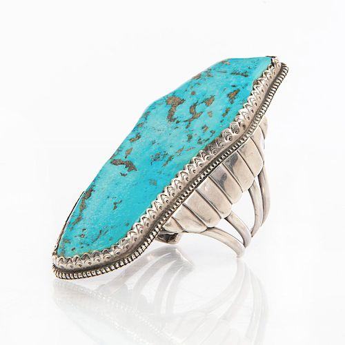 MARK CHEE LARGE SILVER TURQUOISE NAVAJO BRACELET