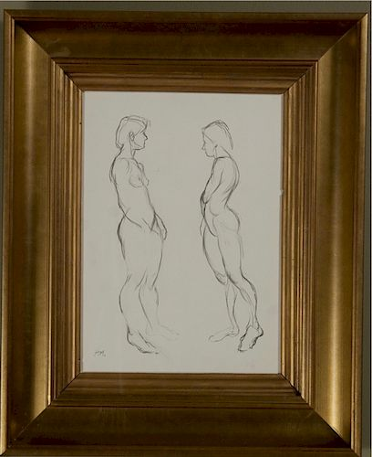 Graphite Study, Two Nudes, attributed to Henri Matisse