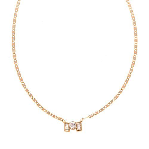 A Ladies 18K Diamond Solitaire Necklace