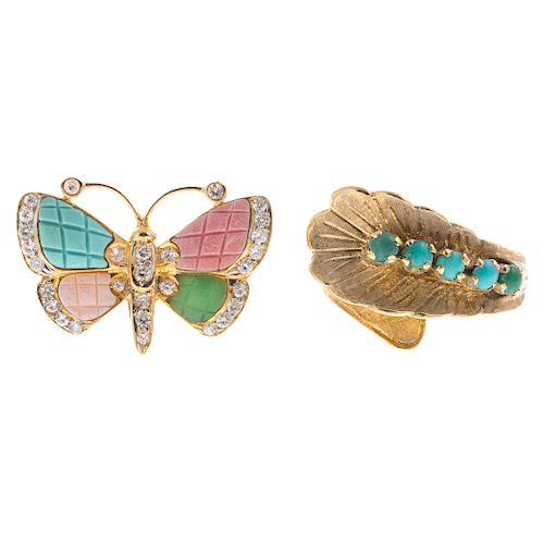 A Pair of Whimsical Gemstone Rings in 18K