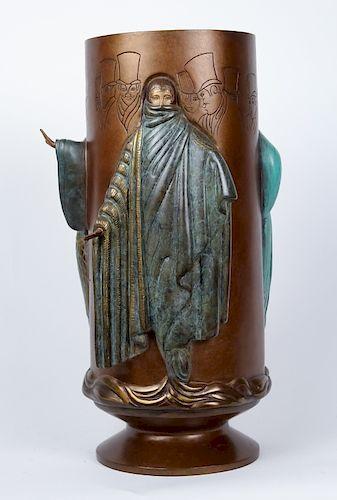 ERTE Fantasy Art Deco Lady Bronze Sculpture Vase