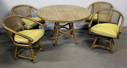 Midcentury Bamboo Table and Chair Set.
