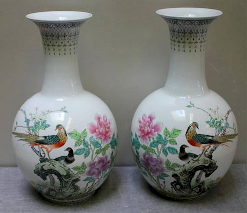Pair of Chinese Baluster Porcelain Vases.