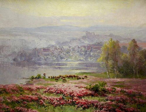 PAIL, Edourad. Oil on Canvas. Sheep in Flowering