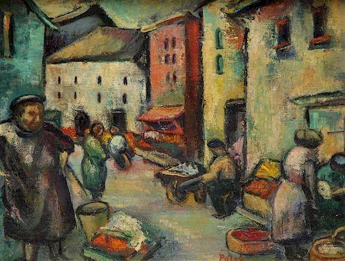 POLAN. Early 20th C. Oil on Canvas. Street Market
