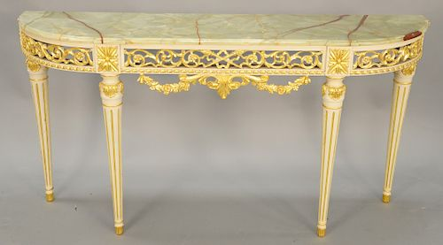 Louis XVI style hall table with onyx top. height 33 inches ...