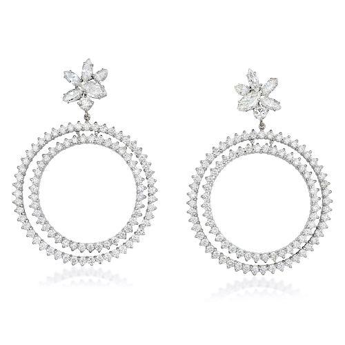 A Pair of Large Diamond Earrings