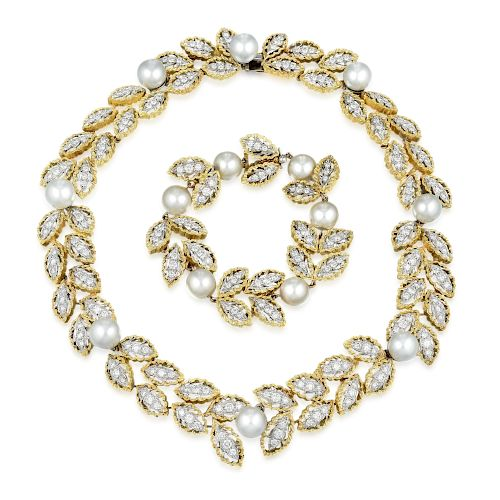 A Diamond and Cultured Pearl Necklace and Bracelet Set, Italian