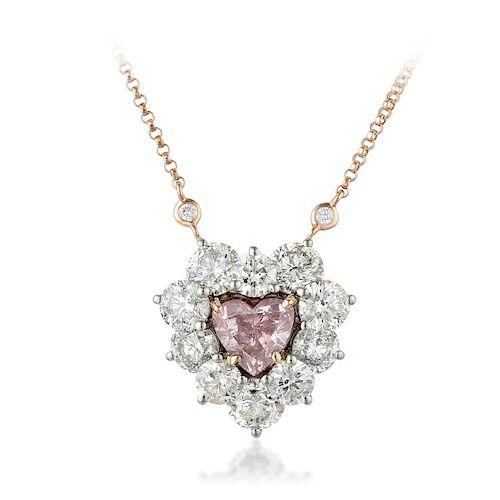 A 1.15-Carat Fancy Purple-Pink Heart-Shaped Diamond Necklace