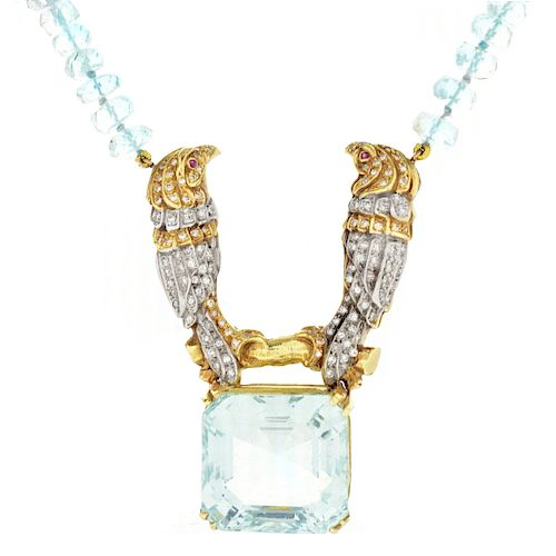 Aquamarine, Diamond and 14K Pendant Necklace