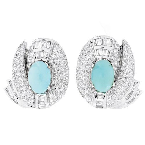 Diamond, Turquoise and 18K Earrings