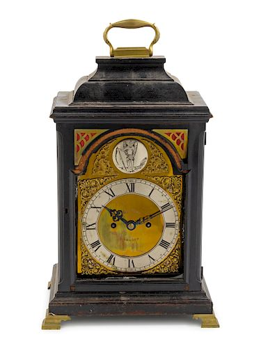 An English Mahogany Bracket Clock, Robert Wood<br