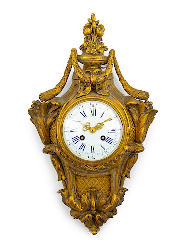 A Louis XVI Style Gilt Bronze Cartel Clock<br>Hei