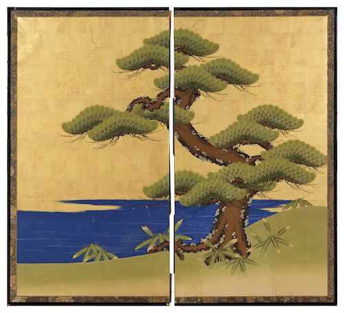 A Pair of Chinese Panels<br>Height of first 67 1/