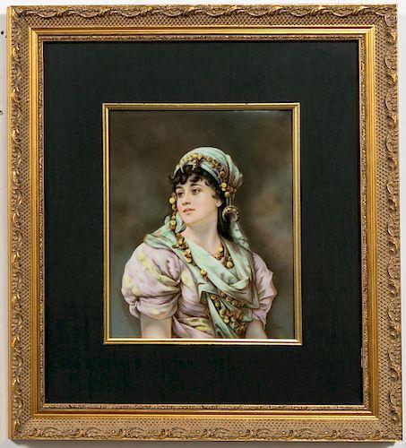 KPM Plaque, S. Wirkner, Portrait of a Gypsy