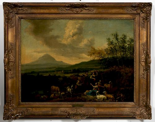 Hendrik Mommers Oil on Canvas Pastoral Landscape