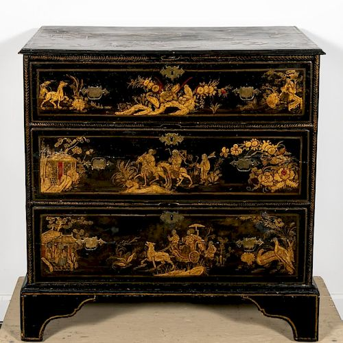 18th C. Georgian Chinoiserie Japanned Chest