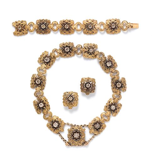 An 18 Karat Yellow Gold and Diamond Parure, Mario Buccellati,