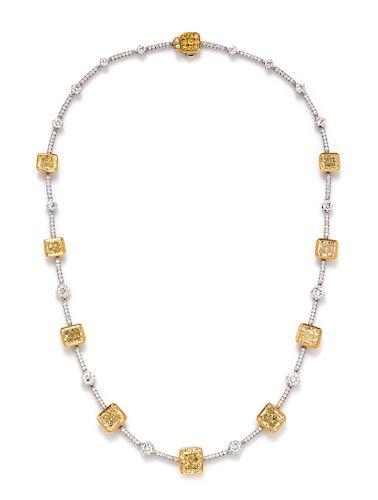 A Bicolor Gold, Colored Diamond and Diamond Necklace, Stefan Hafner,