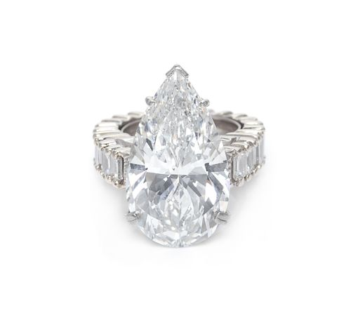 A Platinum, 18 Karat White Gold and Diamond Ring,