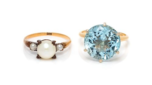 A Collection of Yellow Gold and Gemstone Rings,