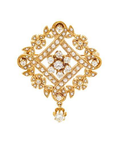 A 14 Karat Yellow Gold, Diamond and Seed Pearl Pendant/Brooch,