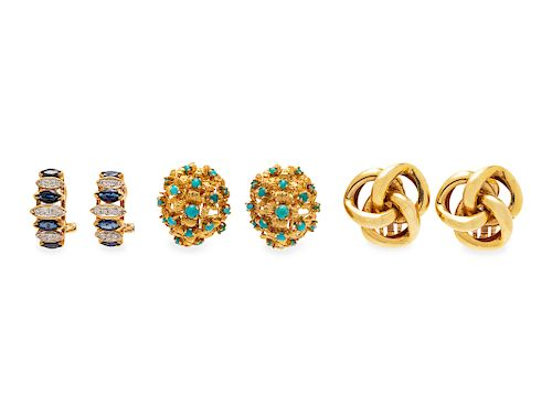 A Collection of Yellow Gold Earclips,