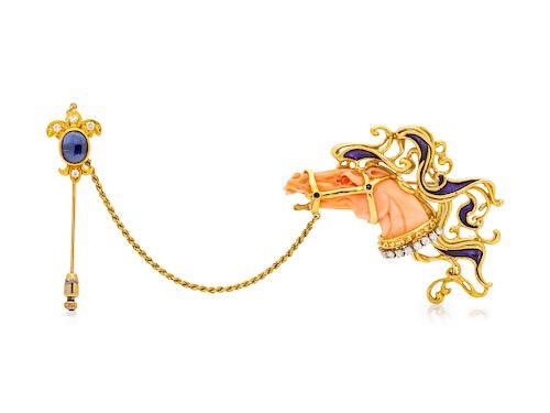 An 18 Karat Yellow Gold, Angel Skin Coral, Enamel and Diamond Horse Head Brooch, Balogh,