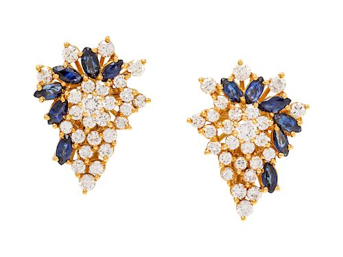 A Pair of Yellow Gold, Diamond and Sapphire Earclips,