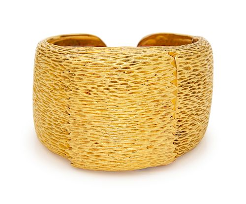 A Yellow Gold Surprise Watch Cuff Frame,