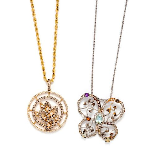 A Collection of 14 Karat Gold and Diamond Pendant Necklaces,