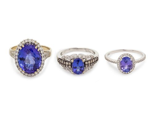 A Collection of White Gold, Tanzanite and Diamond Rings,