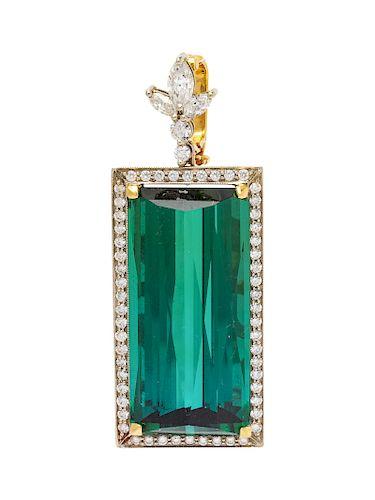 An 18 Karat Bicolor Gold, Green Tourmaline and Diamond Pendant,