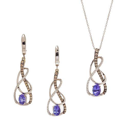 A 14 Karat White Gold, Tanzanite, Diamond and Colored Diamond Demi-Parure, Levian,