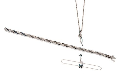 A Collection of White Gold and Diamond Jewelry,