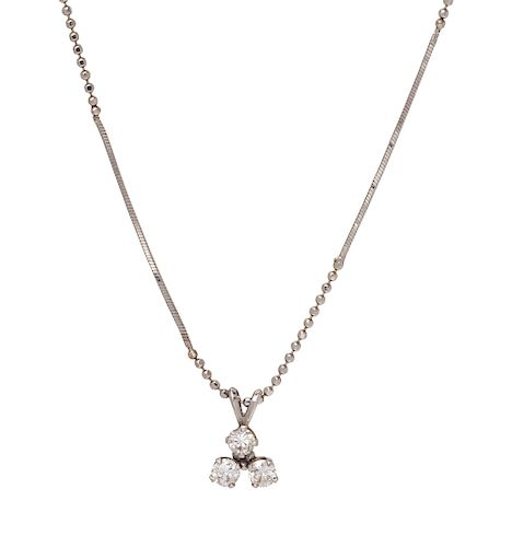 A White Gold and Diamond Pendant/Necklace,