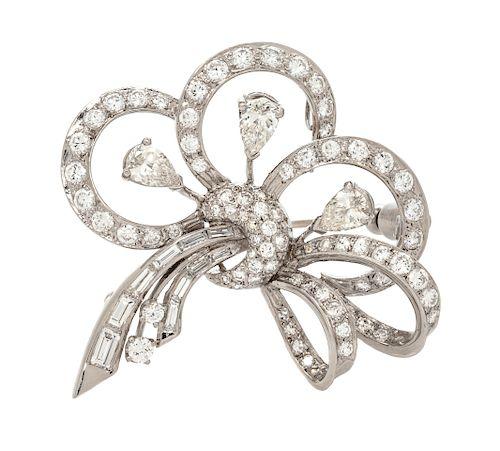 A Platinum and Diamond Pendant/Brooch,