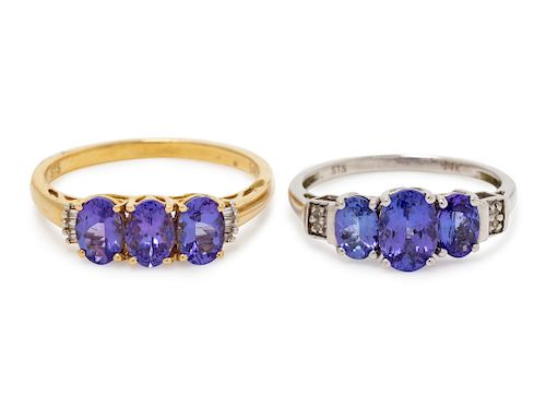 A Collection of 14 Karat Gold, Tanzanite and Diamond Rings,