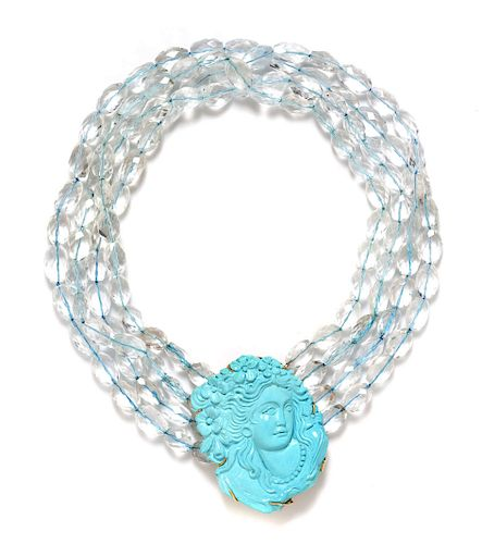 A 14 Karat Yellow Gold, Aquamarine and Turquoise Bead Necklace,