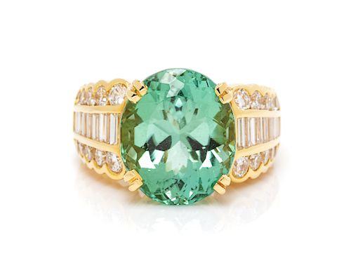 An 18 Karat Yellow Gold, Tourmaline and Diamond Ring,