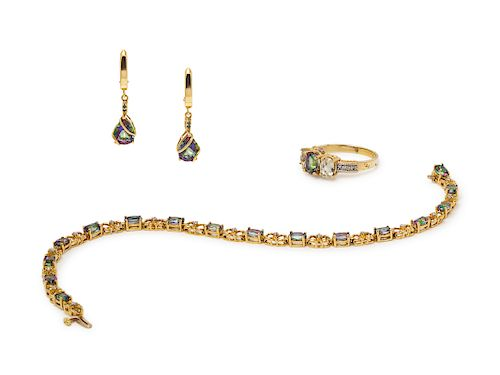 A Yellow Gold and Mystic Topaz Demi-Parure,