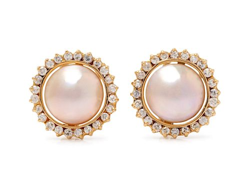 A Pair of Yellow Gold, Mabe Pearl and Diamond Earrings,